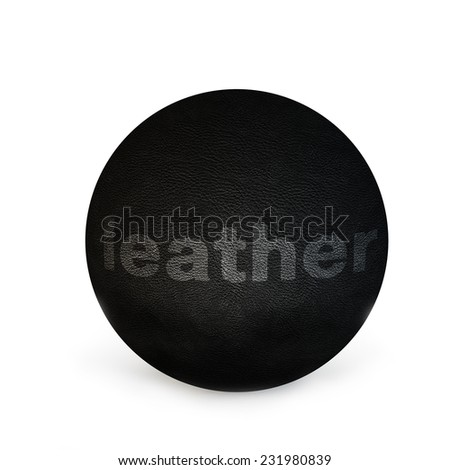 sphere with texture of skin of black color and an inscription in the white color - stock photo