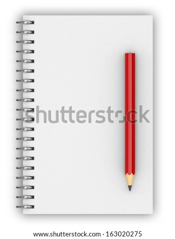 spiral notebook and  pencil, 3d