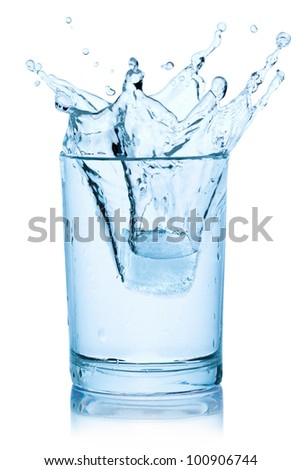Splash from ice cube in a glass of water, isolated on the white background, clipping path included.
