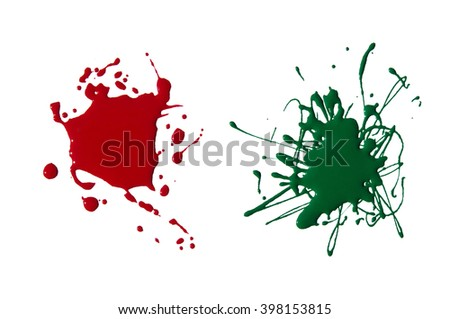 splats splashes and blobs of brightly colored paint in different shapes drips isolated on white  - stock photo