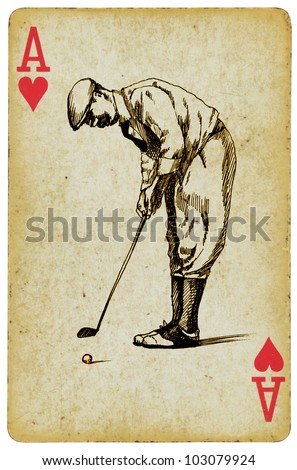Sports Aces On The Ace Of Hearts Playing Card Vintage Processing