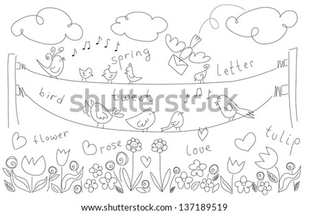 Spring elements as doodles of birds decorated with hearts and flowers as tulip rose and clouds and freehand spring words as sketch isolated on white background - stock photo