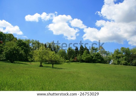 Spring Landscape on a Clear Blue Day - stock photo