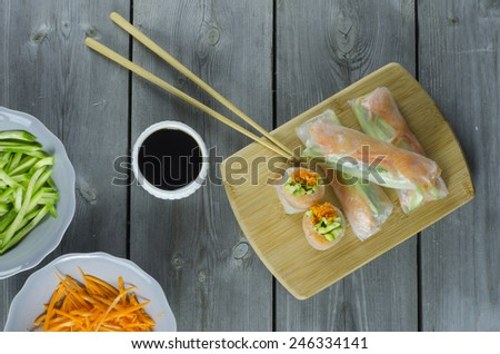 spring rolls preparation and ingredients for it - stock photo