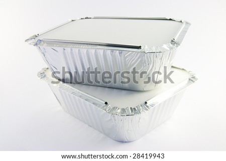 2 square foil catering trays - stock photo