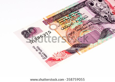20 Sri Lankan rupee bank note. Rupees is the national currency of Sri Lanka - stock photo