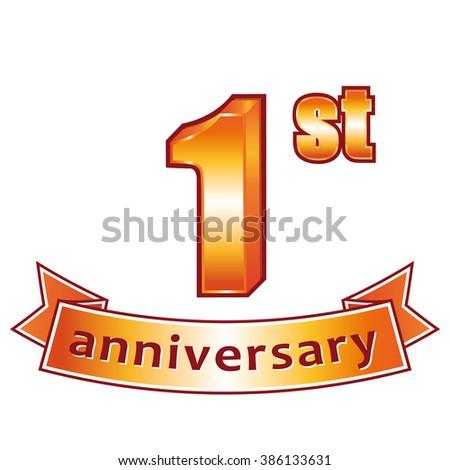 1st anniversary. Golden label.  - stock photo