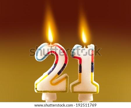 21st Birthday - Candles - stock photo