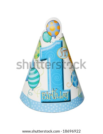 1st birthday party hat isolated on white background - stock photo