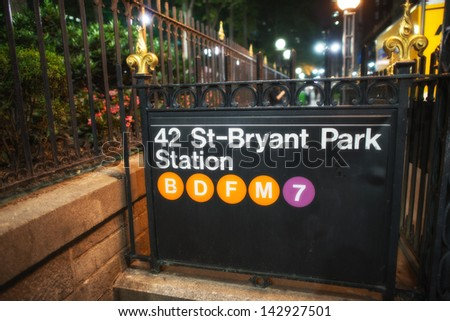 42st - Bryant Park Subway sign in the summer night, New York City. - stock photo