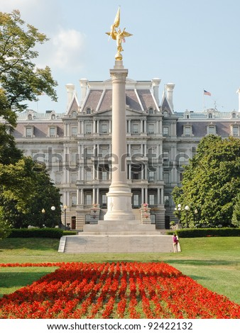 1st Division Memorial & the Old Executive Office Building - stock photo