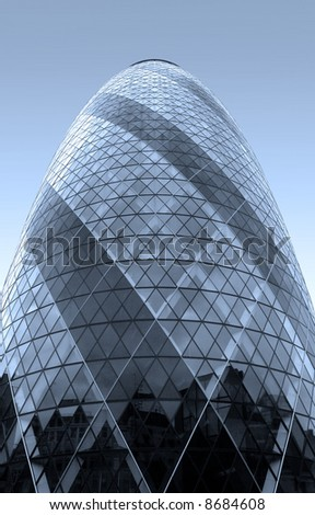 30 st Mary Axe, London (The Gherkin). Toned in blue. - stock photo