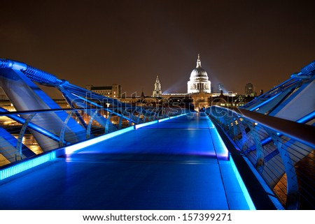 St. Paul's Cathedral From the Millennium Bridge at night - stock photo