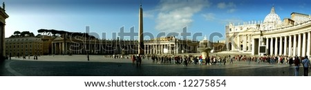 St Peter's Square - Panoramic View, Rome (Vatican City). - stock photo