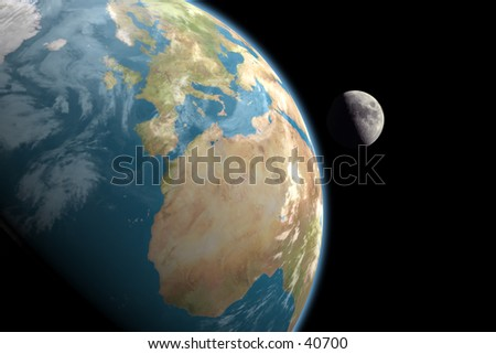 1st quarter moon rising over Europe and Africa. No stars in background. 3D computer generated image