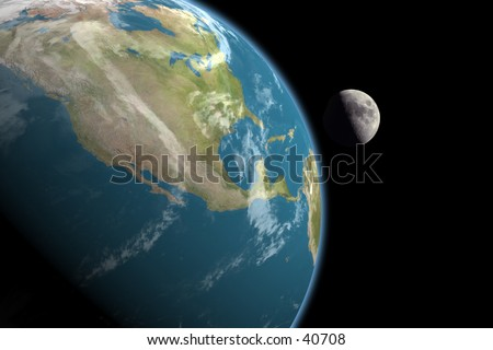 1st quarter moon rising over North America. No stars in the background. 3D computer generated image. - stock photo