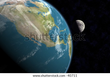 1st quarter moon rising over North America. Stars in background. 3D computer generated image. - stock photo