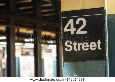 42 st subway sign in New York City. - stock photo