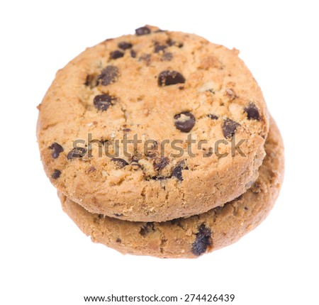 stack of cookies with chocolate isolated on white background