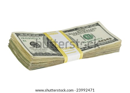 $10,000 stack of one hundred dollar bills isolated on white background - stock photo