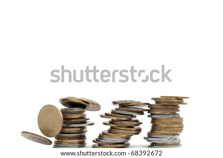 3 stack of the fly away coins isolated on white