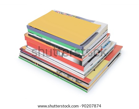 stacks of books and magazines with blank cover isolated on white background - stock photo