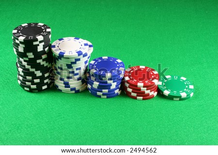 5 stacks of Poker chips on an isolated background