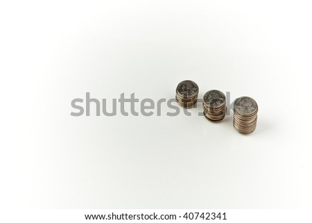 3 stacks of quarters - stock photo