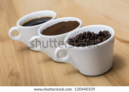 3 stages of coffee - stock photo