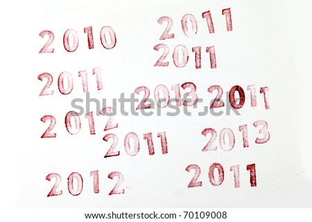 2010, 2011, 2012, 2013  stamps on a White Background..real rubber stamp - stock photo