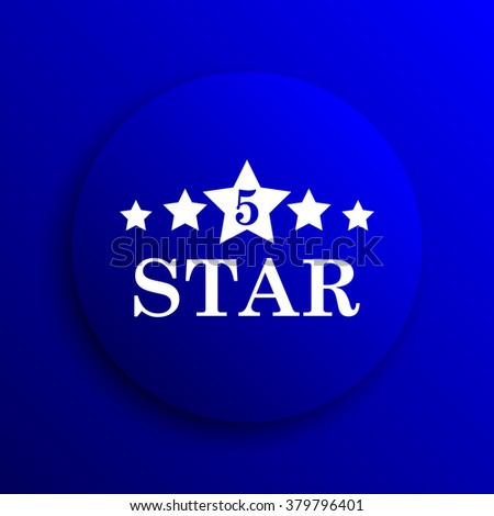 5 star icon. Internet button on blue background.