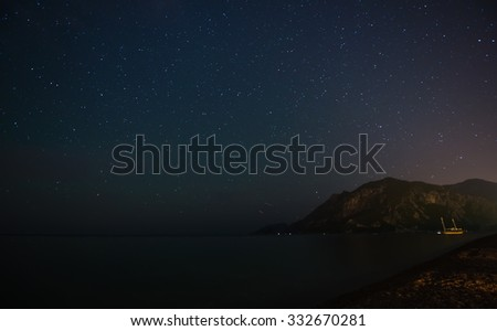 Starry sky at night at the sea coast in Cirali, Turkey - landscape exterior - stock photo