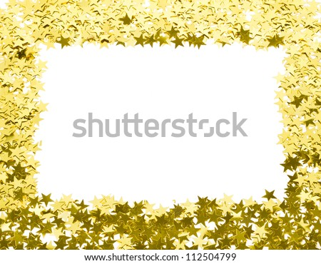 stars confetti, Frame of yellow shiny little stars , isolated on white background - stock photo