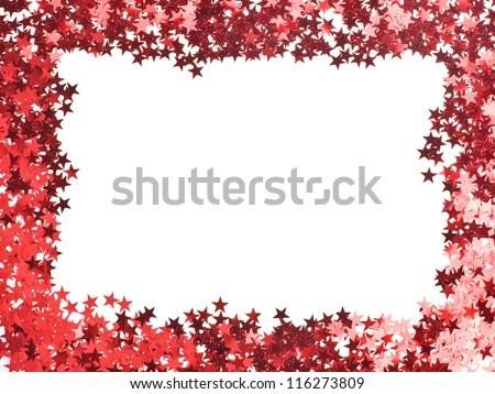 stars confetti , small red stars , rectangular shape frame,  isolated on white background - stock photo