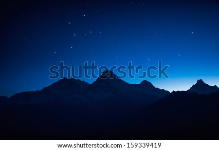 Stars over the mountain - stock photo