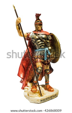 statue of ancient Macedonian soldier,isolated