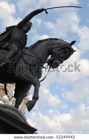 Statue of croatian war leader duke Josip Jelacic in Zagreb - stock photo