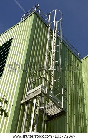 steel safety staircase - stock photo