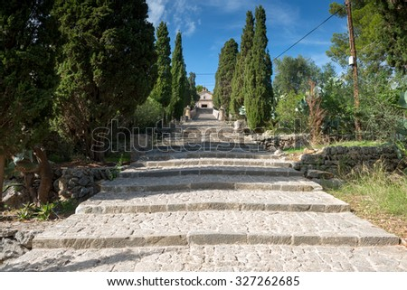 365-step stairway up to a chapel on top of the hill known as Calvary in Pollenca, Mallorca island, Spain