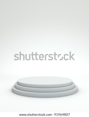 3 steps empty podium on white background. - stock photo