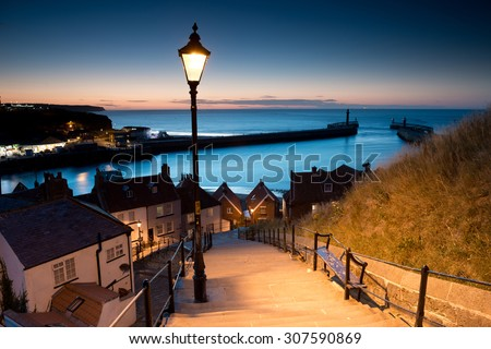 199 steps of  Whitby in the  North Yorkshire at sunset , United Kingdom