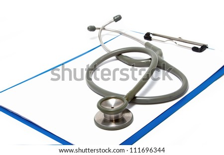 stethoscope rest on clipboard  on white background