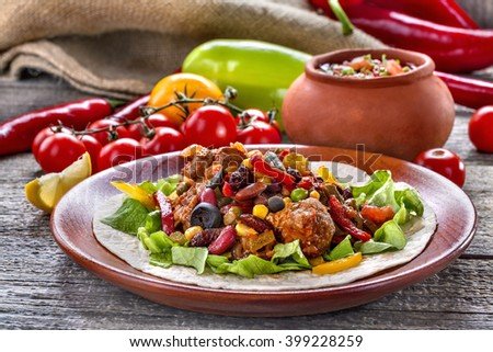 Stew from various vegetables and meat. Mexican cuisine. - stock photo