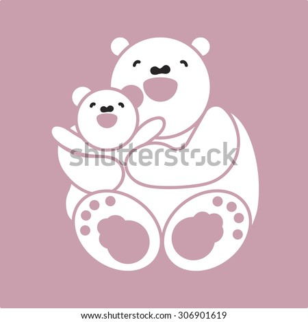 sticker, card with happy mother and child white bear