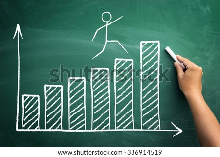 Stickman jumping on the diagram of business growth and success