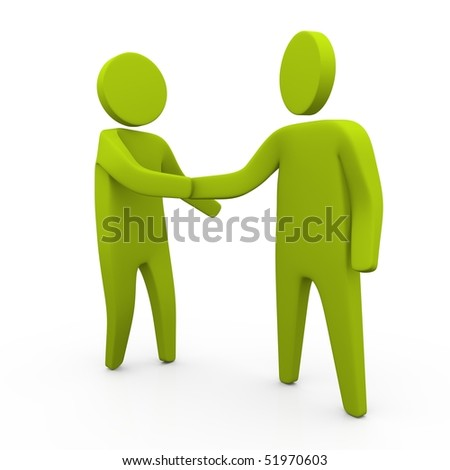 2 sticky green figure shaking hand. business concept. - stock photo