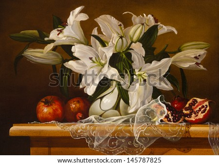 still life lily flowers - stock photo