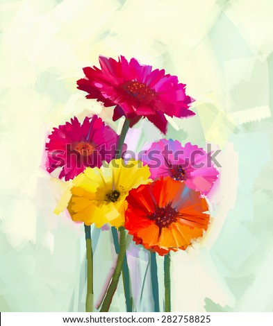Still life of yellow and red gerbera flowers .Oil painting of spring flowers . Hand Painted floral Impressionist style - stock photo
