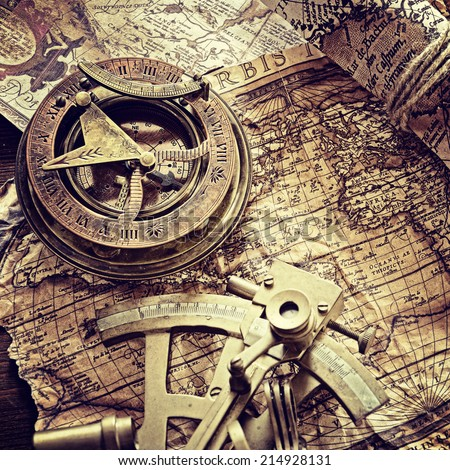 still life with compass,and old map. - stock photo