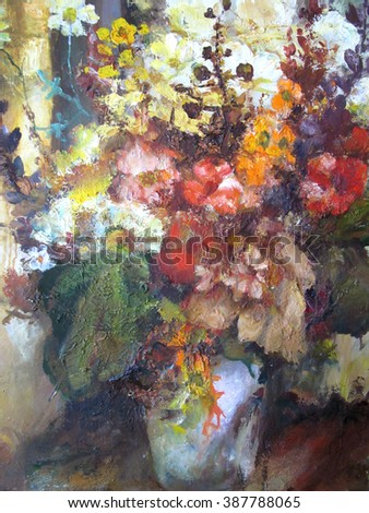 Still life with flowers. A fragment of the picture. Bright colorful background.